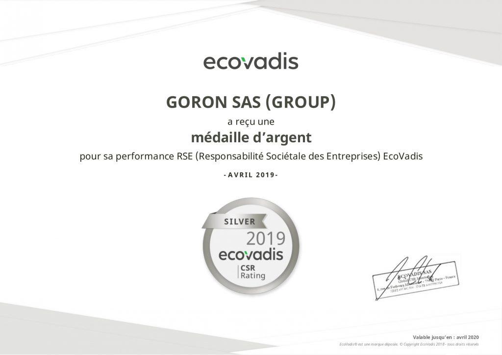 Découvrez le diplôme EcoVadis obtenue par GORON