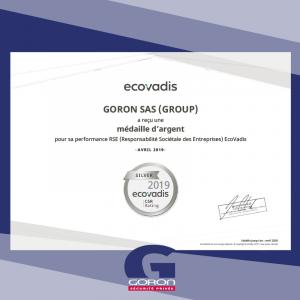 Goron obtient la médaille d'argent EcoVadis